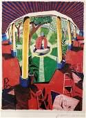 David Hockney  Views of Hotel Well III Pencil Signed
