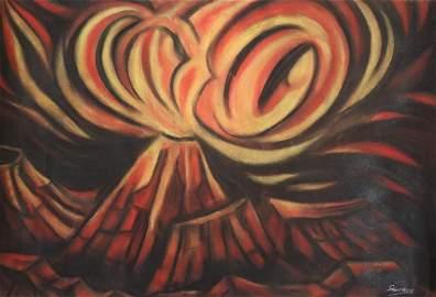 David Alfaro Siqueiros Volcano Chalk Drawing