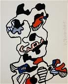 Jean DuBuffet Screenprint c 1967 Pencil Signed