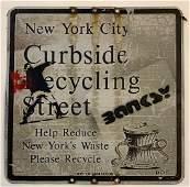 Banksy (Flower Thrower) Graffiti on New York Sign