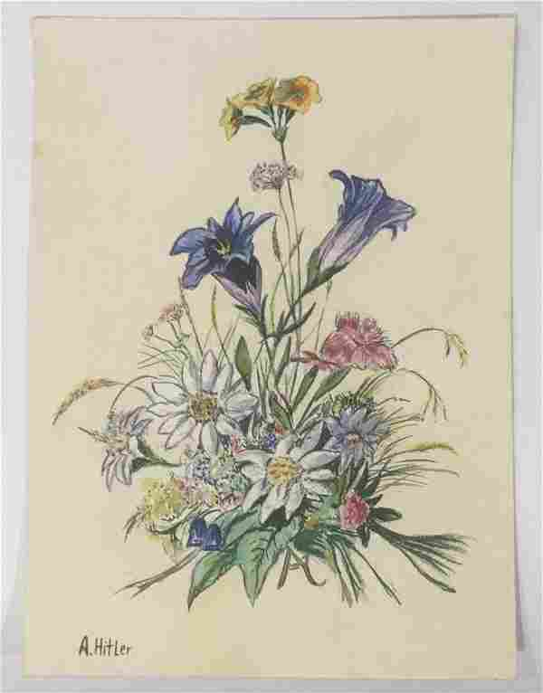 Attr. Adolf Hitler (Floral) Watercolor on paper