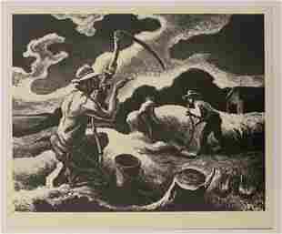 Thomas Hart Benton Black and White Print on Paper