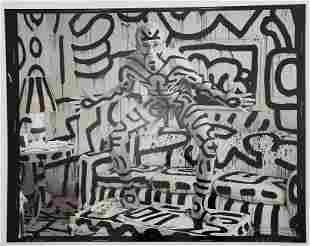 Keith Haring Black and White Print on Paper