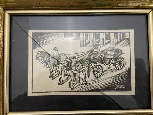 Lyonel Feininger - Woodcut (Horses)