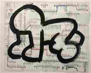 Attributed to Keith Haring (Baby) Ink on NY Map 1988