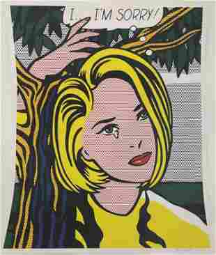 Roy Lichtenstein (I Am Sorry) Hand Signed Offset Litho