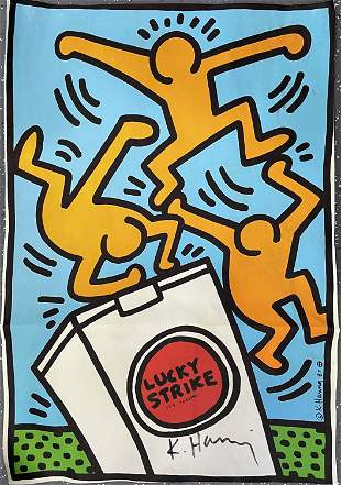 "Keith Haring ""Lucky Strike"" Hand Signed Colored Print"