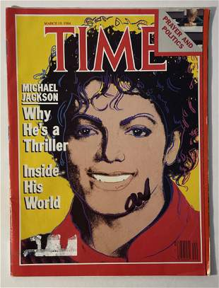 Michael Jackson - Time Magazine Signed by Andy Warhol
