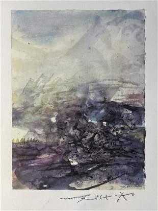 Zao Wou-Ki (Untitled) Pencil Signed Offset Lithograph