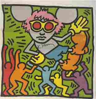 Keith Haring Andy Mouse, Hand Signed