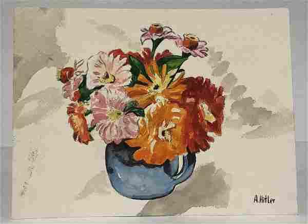 Attrib. to Adolf Hitler Watercolor Floral