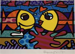 Romero Britto - Two Fishes - Hand Signed Colored Print
