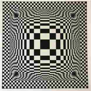 Victor Vasarely (Untitled) Hand Signed Colored Print
