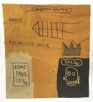After Jean Michel Basquiat (Rome) Print on Heavy Paper