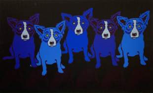 George Rodrigue- Blue Dogs - Print in Colors