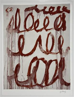 Cy Twombly Hand Signed Offset Lithograph