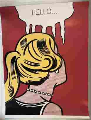 Roy Lichtenstein (Hello) Hand Signed Colored Print