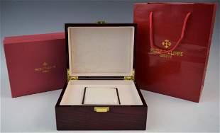 Wood Watch Storage Box marked Patek Philippe