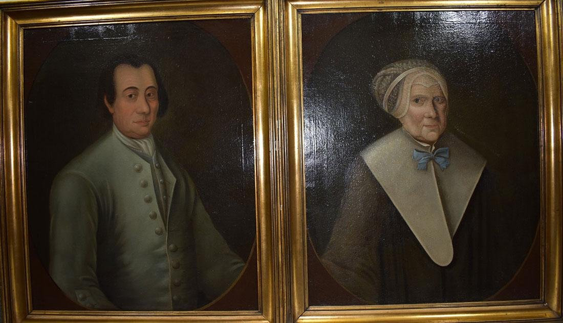 Pair of 18th Cent. Portrait Paintings Oil on Canvas