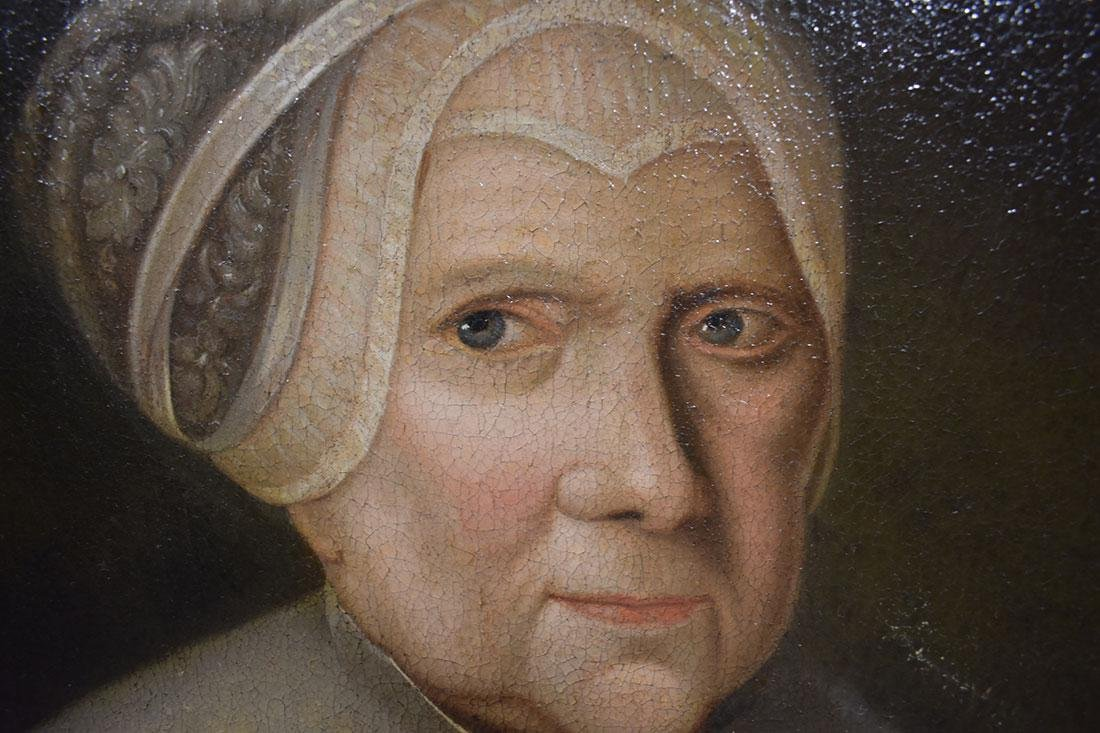 Pair of 18th Cent. Portrait Paintings Oil on Canvas - 6