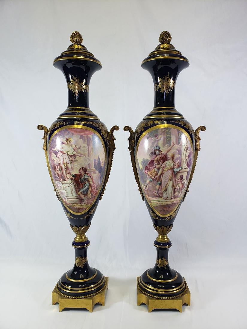 Pair Beautiful  Handpainted Sevres Urns / Bronze mounts