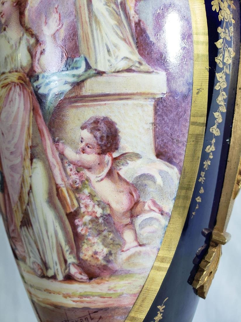 Pair Beautiful  Handpainted Sevres Urns / Bronze mounts - 6