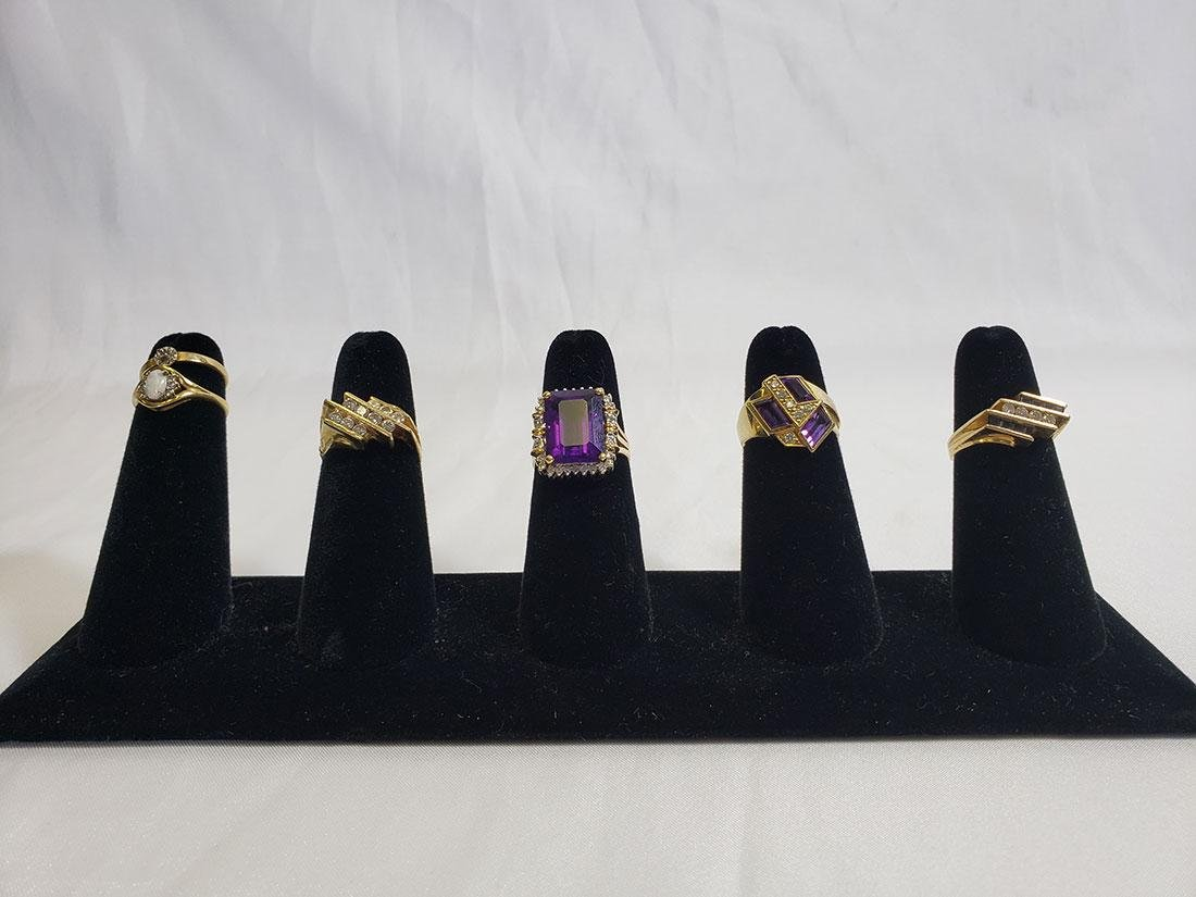 Estate Jewelry Lot (6) 14K Gemstone / Diamond Rings