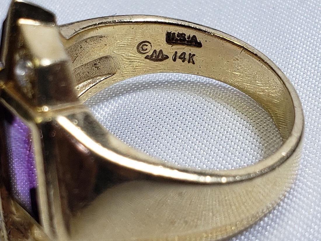 Estate Jewelry Lot (6) 14K Gemstone / Diamond Rings - 8