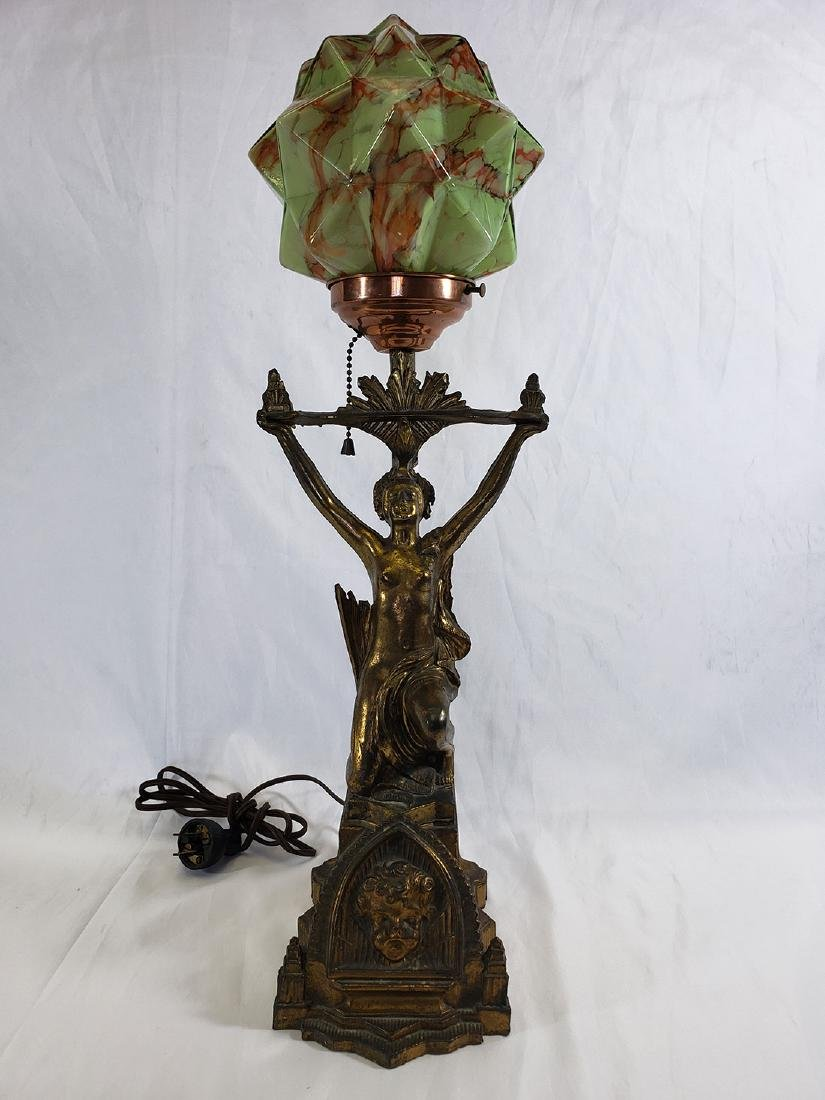 Art Deco Fancy Nude Lamp-Consolidated Glass Cubic Shade