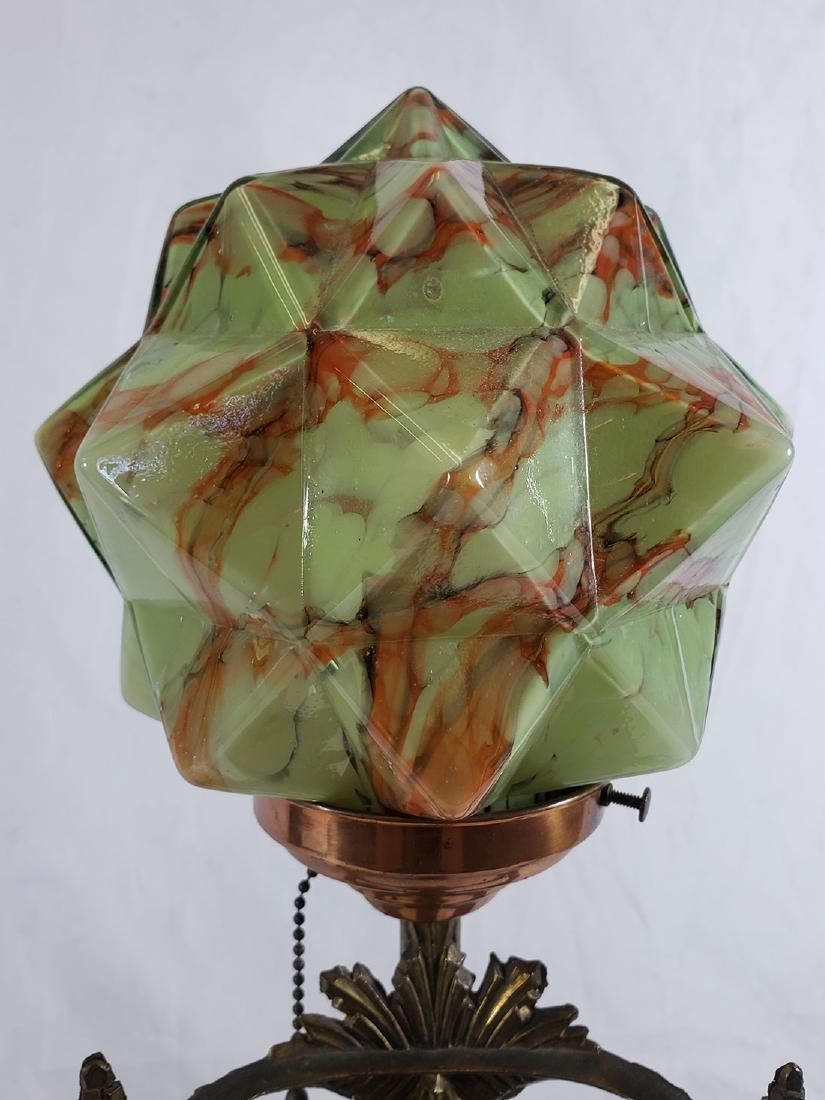 Art Deco Fancy Nude Lamp-Consolidated Glass Cubic Shade - 7