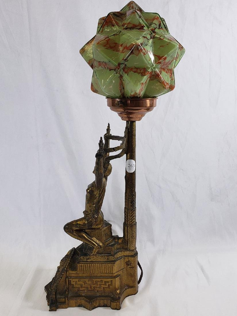 Art Deco Fancy Nude Lamp-Consolidated Glass Cubic Shade - 8
