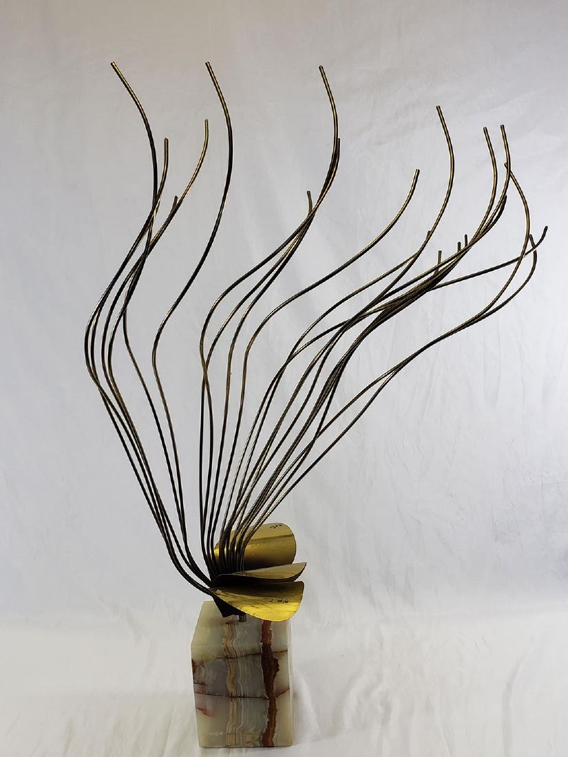 Curtis Jere' Brass Sculpture mounted on Onyx base - 7