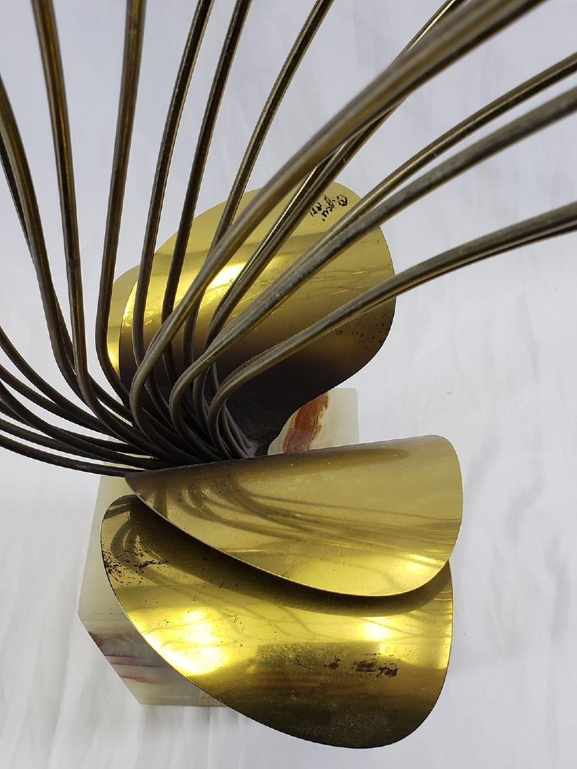Curtis Jere' Brass Sculpture mounted on Onyx base - 8