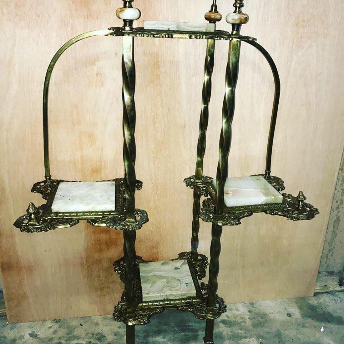 Victorian Style Onyx & Brass Etagere`