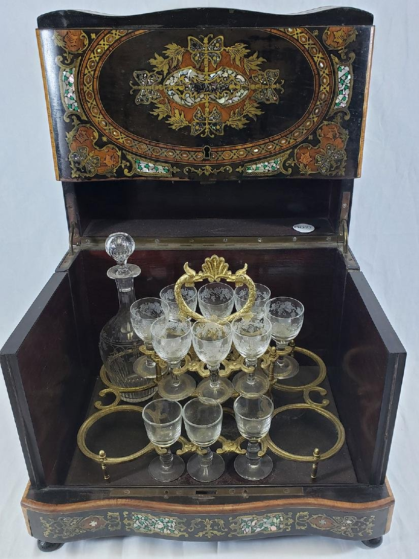 Mother of Pearl & Brass Inlaid Tantalus - Decanter Set - 9