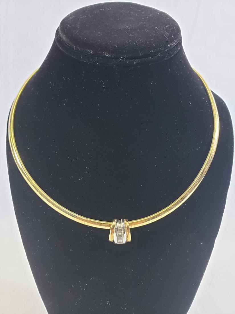 14K Gold Omega Link Necklace / Diamond Slide Set