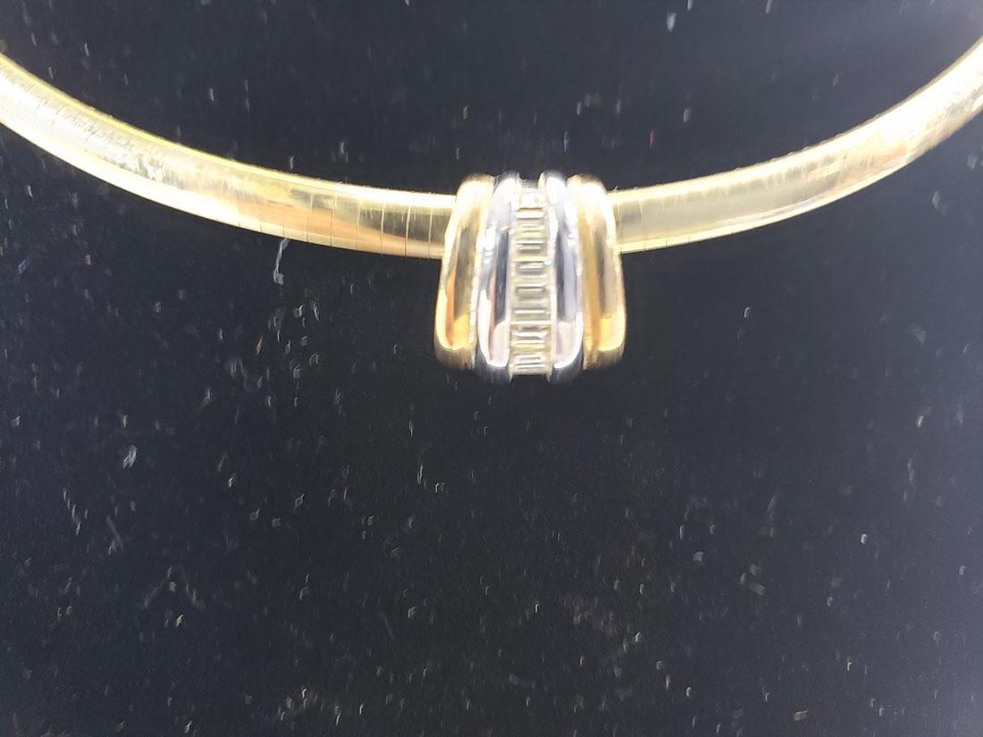 14K Gold Omega Link Necklace / Diamond Slide Set - 2