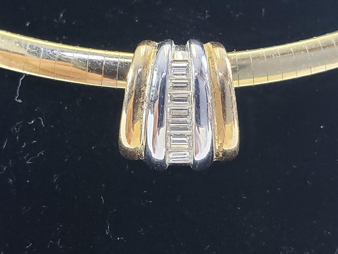 14K Gold Omega Link Necklace / Diamond Slide Set - 3