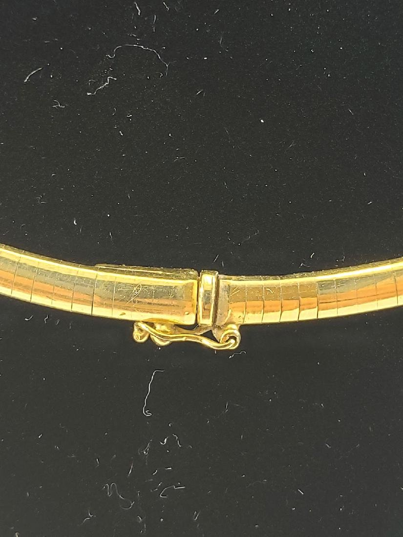 14K Gold Omega Link Necklace / Diamond Slide Set - 4
