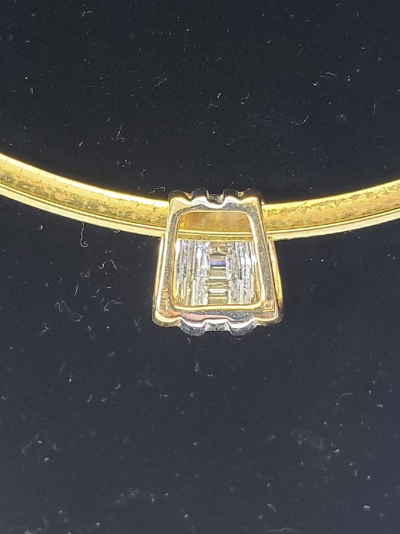 14K Gold Omega Link Necklace / Diamond Slide Set - 6