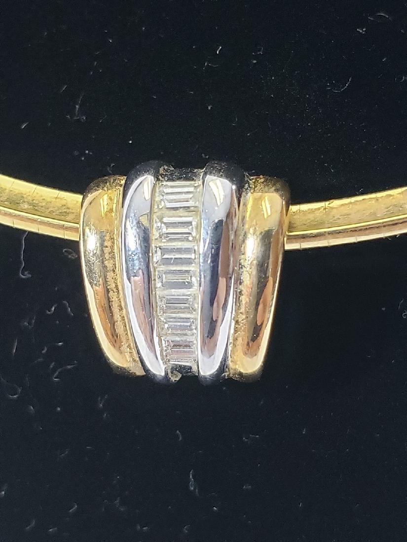 14K Gold Omega Link Necklace / Diamond Slide Set - 8