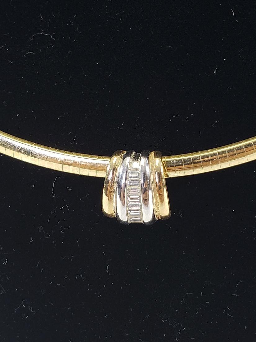 14K Gold Omega Link Necklace / Diamond Slide Set - 9