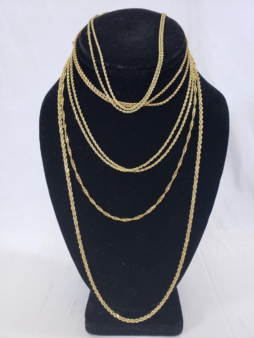 Estate Lot (5) 14K Gold  Necklaces