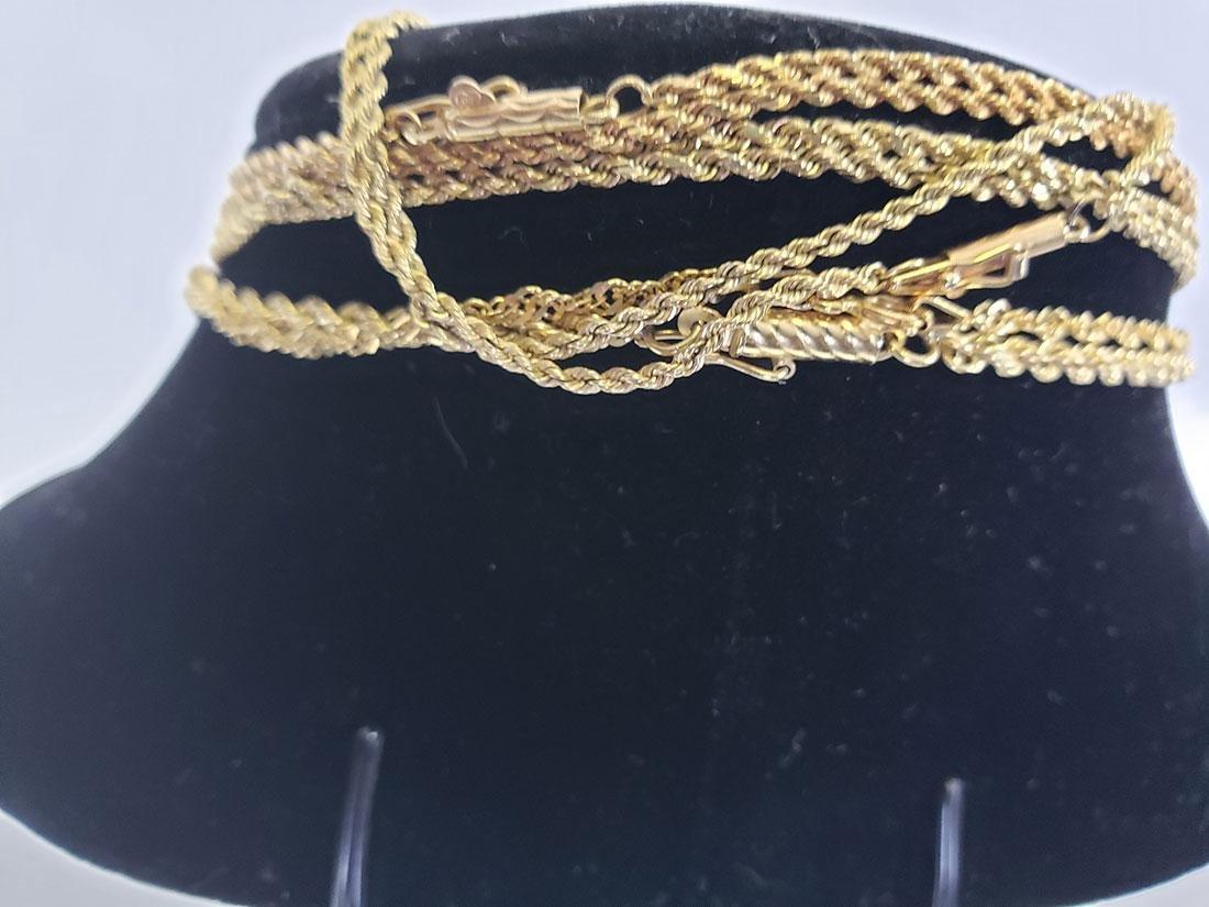 Estate Lot (5) 14K Gold  Necklaces - 4