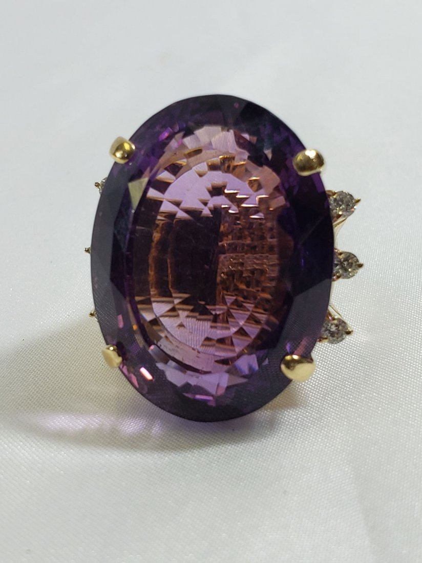 2 Giant 18K Yellow Gold Amethyst/Diamond Cocktail Rings - 2
