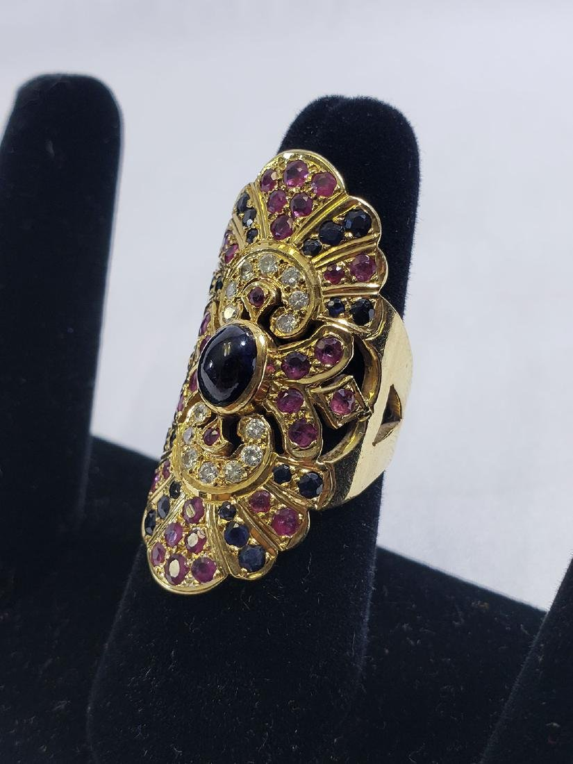 2 Giant 18K Yellow Gold Amethyst/Diamond Cocktail Rings - 3