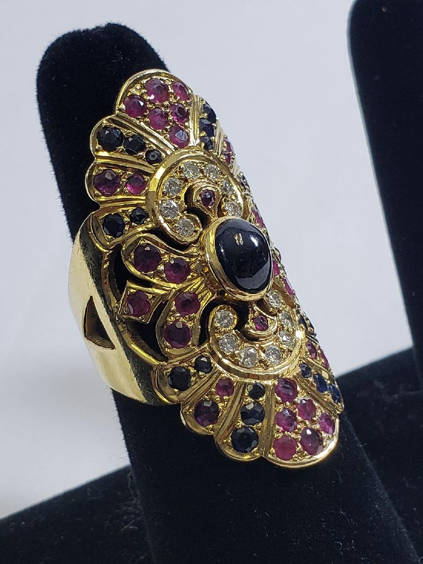 2 Giant 18K Yellow Gold Amethyst/Diamond Cocktail Rings - 4