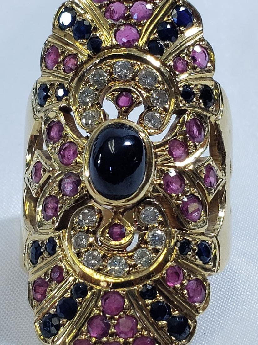 2 Giant 18K Yellow Gold Amethyst/Diamond Cocktail Rings - 9
