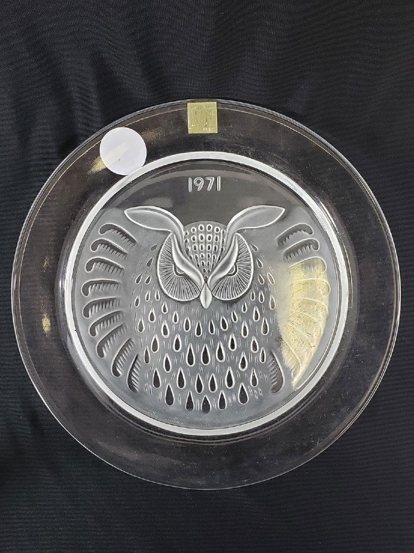 French Crystal Lalique Elephant & Owl plate / Baccarat - 2