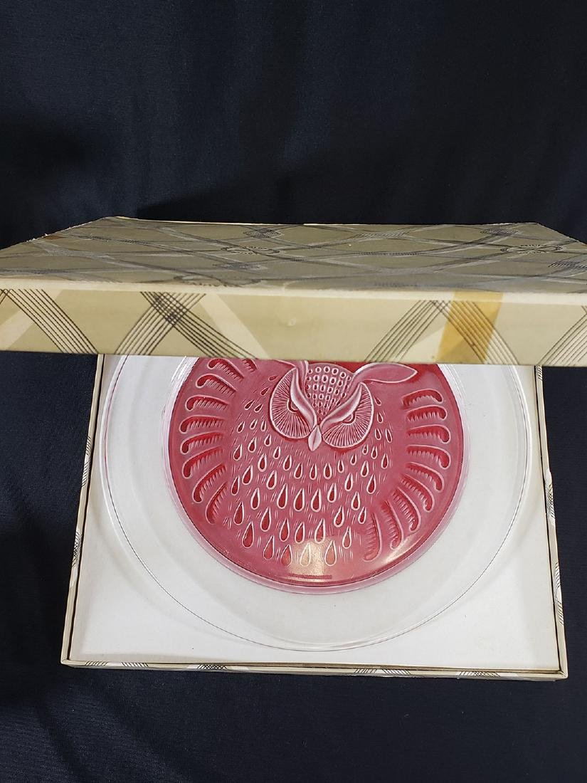 French Crystal Lalique Elephant & Owl plate / Baccarat - 5